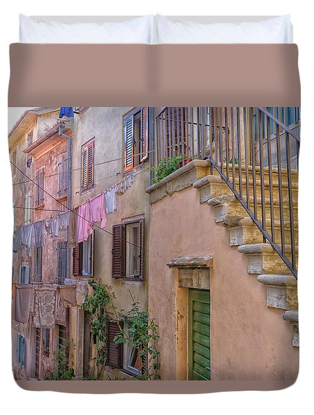Duvet Cover featuring the photograph Urban View With Laundary by Uri Baruch