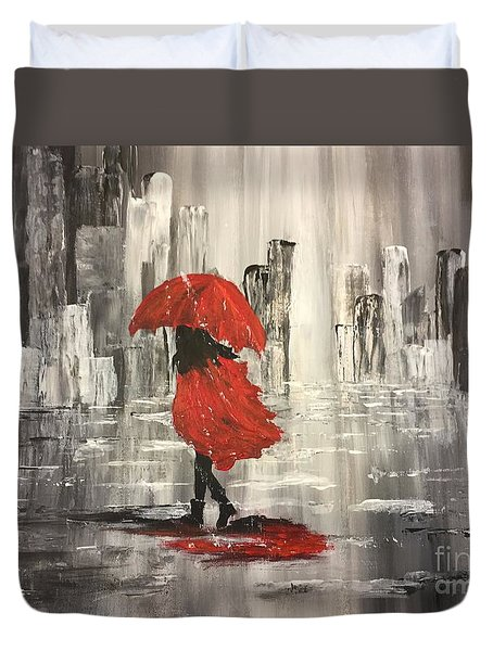Urban Walk In The Rain Duvet Cover