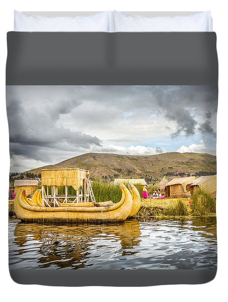 Duvet Cover featuring the photograph Uros Boat by Gary Gillette