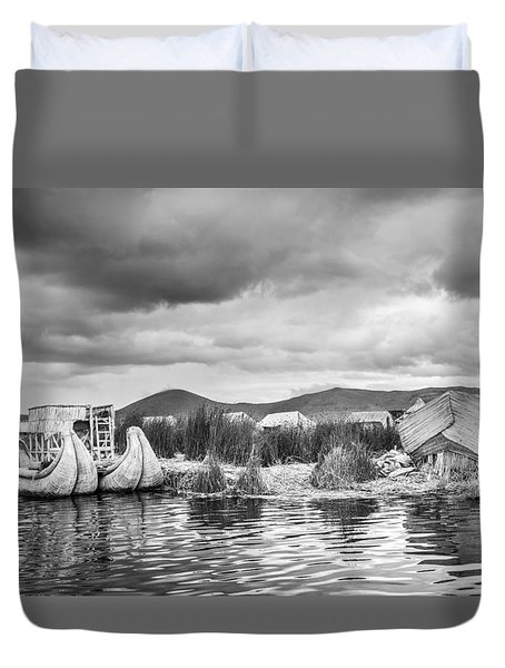 Duvet Cover featuring the photograph Uros Floating Island by Gary Gillette