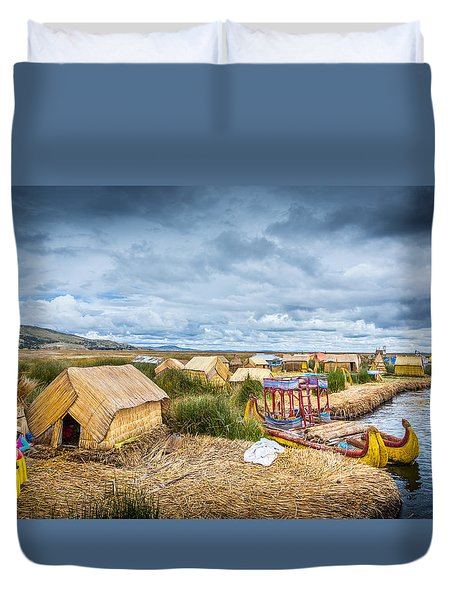 Duvet Cover featuring the photograph Uros Life by Gary Gillette