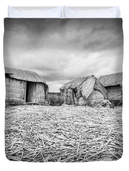 Uros Native Huts Duvet Cover