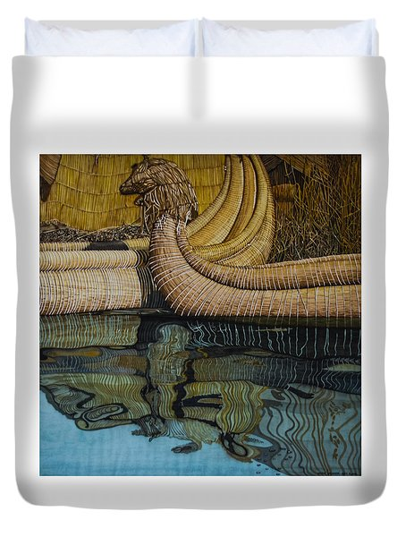 Uros Straw Boats And Island Duvet Cover