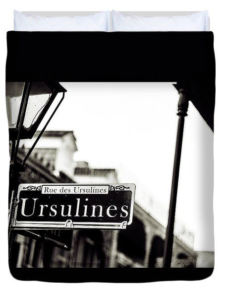 Ursulines In Monotone, New Orleans, Louisiana Duvet Cover