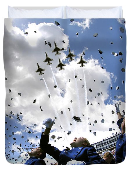 Duvet Cover featuring the photograph U.s. Air Force Academy Graduates Throw by Stocktrek Images