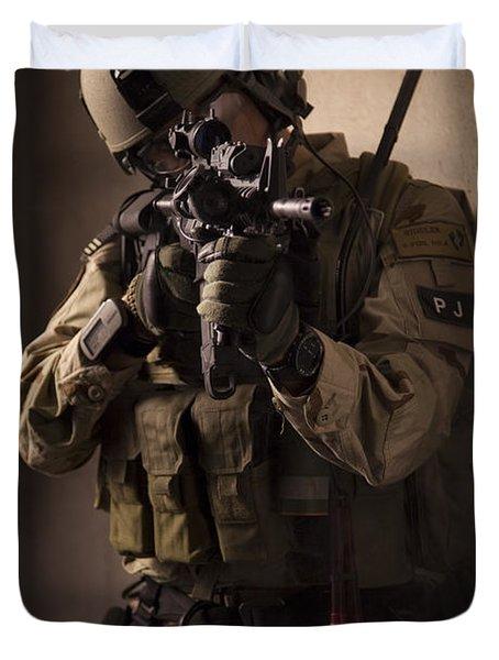U.s. Air Force Csar Parajumper Armed Duvet Cover by Tom Weber