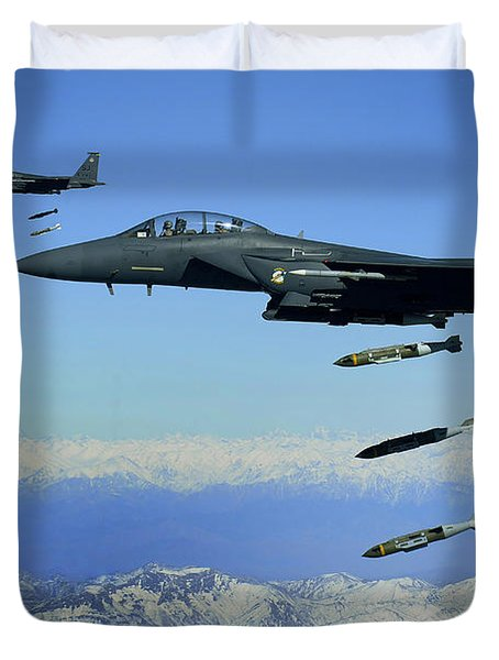 U.s. Air Force F-15e Strike Eagle Duvet Cover by Stocktrek Images