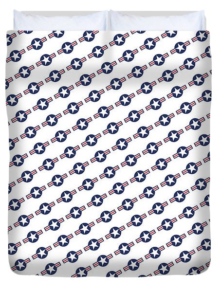 Duvet Cover featuring the digital art Us Airforce Style Insignia Pattern Diag Version by Bruce Stanfield
