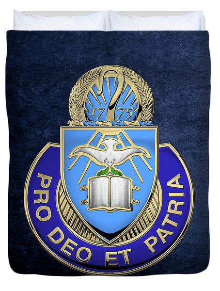 Duvet Cover featuring the digital art U. S. Army Chaplain Corps - Regimental Insignia Over Blue Velvet by Serge Averbukh
