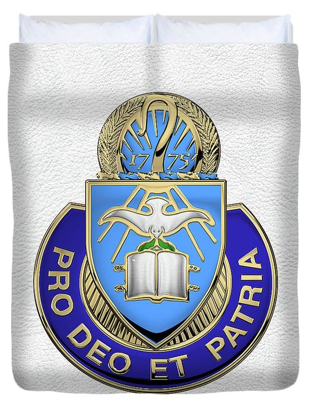 Duvet Cover featuring the digital art U.s. Army Chaplain Corps - Regimental Insignia Over White Leather by Serge Averbukh