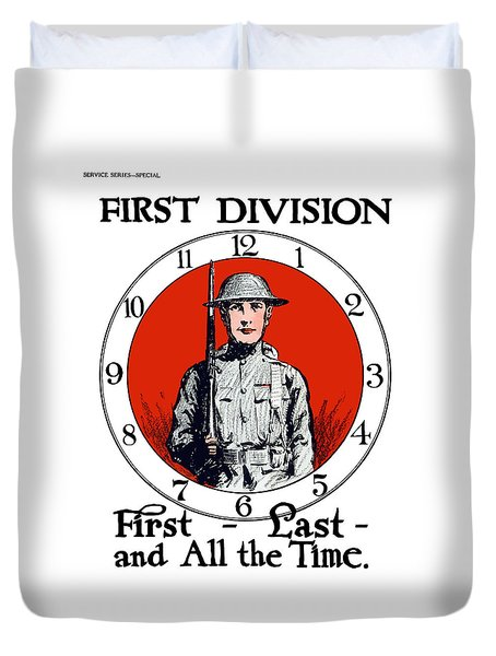 Duvet Cover featuring the painting Us Army First Division - Ww1 by War Is Hell Store