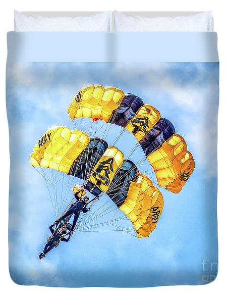 Duvet Cover featuring the photograph U.s. Army Golden Knights by Nick Zelinsky