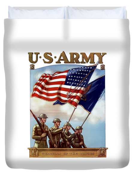 Us Army -- Guardian Of The Colors Duvet Cover by War Is Hell Store