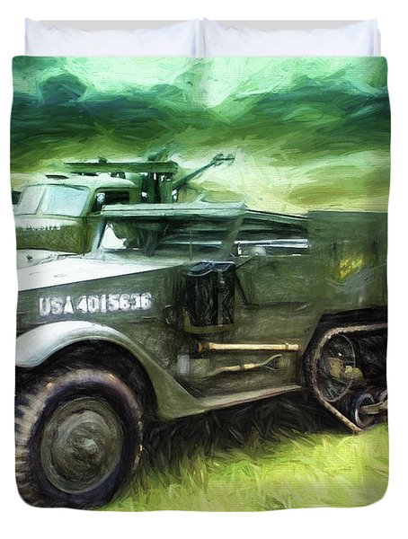 Duvet Cover featuring the painting U.s. Army Halftrack by Michael Cleere