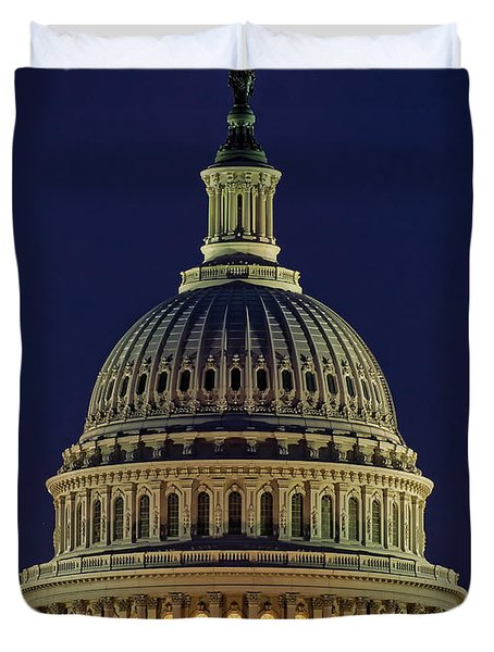 U.s. Capitol At Night Duvet Cover