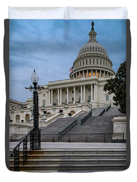 Duvet Cover featuring the photograph Us Capitol Building Twilight by Susan Candelario