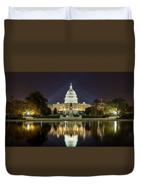 Us Capitol Night Panorama Duvet Cover