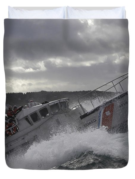Duvet Cover featuring the photograph U.s. Coast Guard Motor Life Boat Brakes by Stocktrek Images