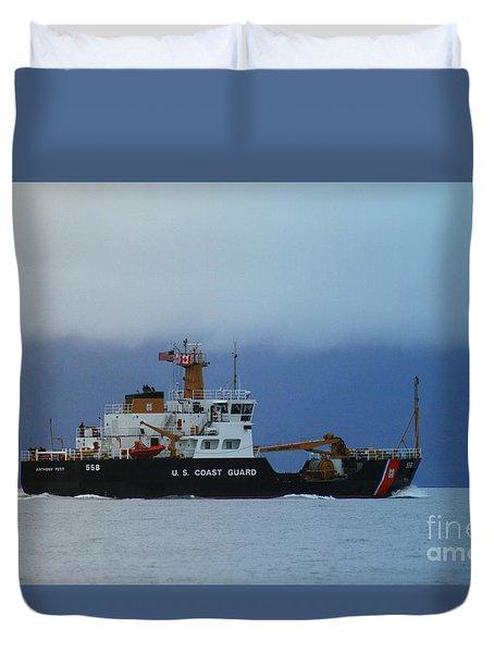 Duvet Cover featuring the photograph U. S. Coast Guard by Myrna Bradshaw