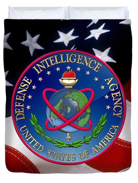 U. S. Defense Intelligence Agency - D I A Emblem Over Flag Duvet Cover