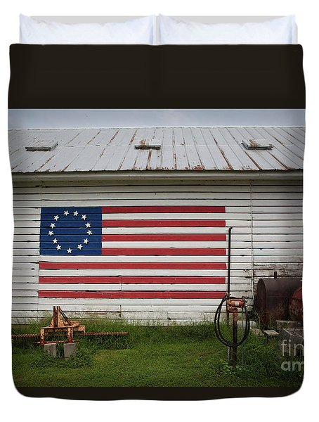 Us Flag Barn Duvet Cover