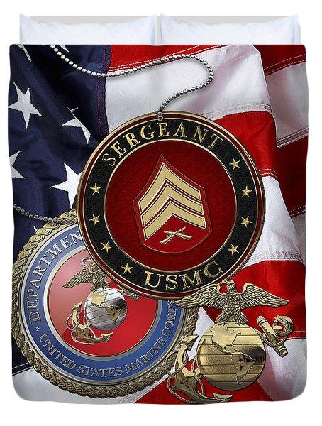 U. S. Marines Sergeant - U S M C Sgt Rank Insignia Over American Flag Duvet Cover