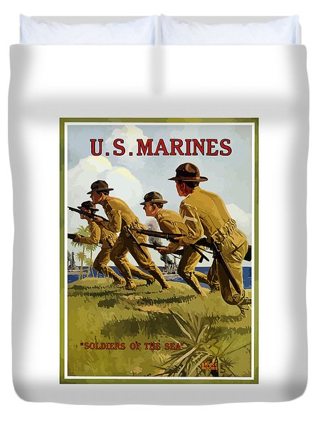 Us Marines - Soldiers Of The Sea Duvet Cover by War Is Hell Store