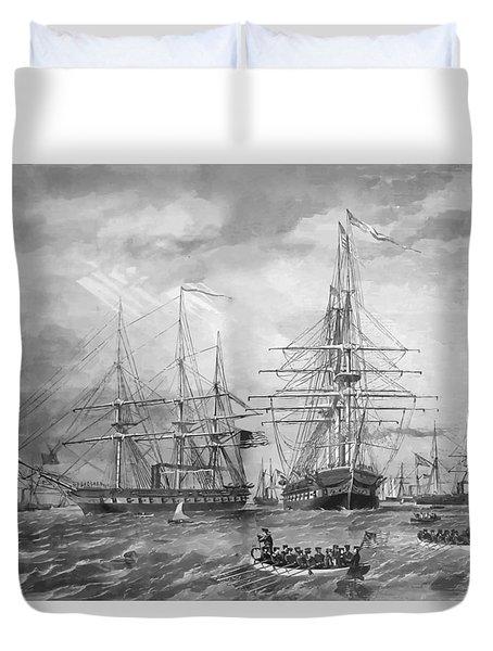 U.s. Naval Fleet During The Civil War Duvet Cover by War Is Hell Store