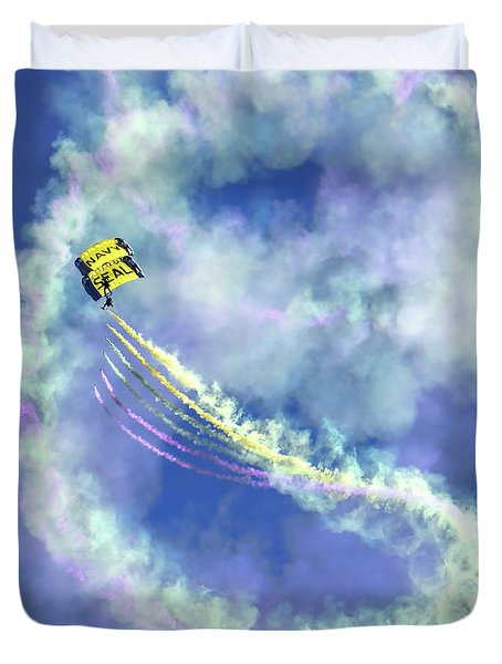 Us Navy Seals Colorful Parachute Jump Duvet Cover