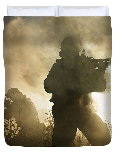 U.s. Navy Seals During A Combat Scene Duvet Cover