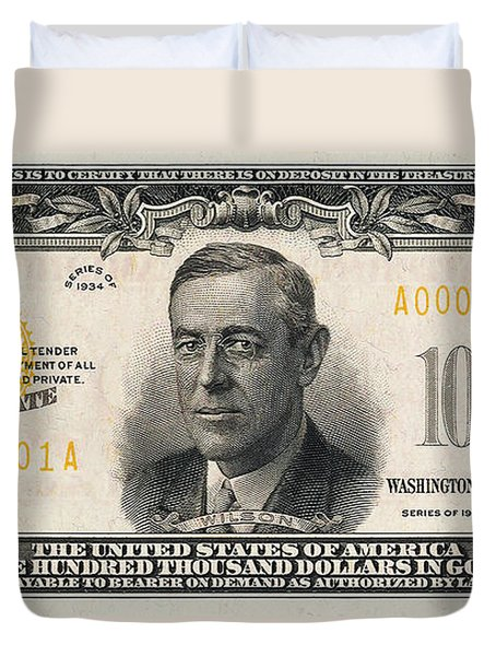 Duvet Cover featuring the digital art U.s. One Hundred Thousand Dollar Bill - 1934 $100000 Usd Treasury Note  by Serge Averbukh