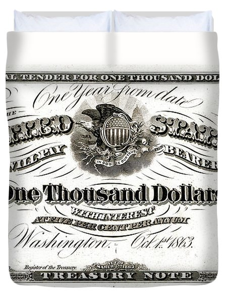 Duvet Cover featuring the digital art U.s. One Thousand Dollar Bill - 1863 $1000 Usd Treasury Note by Serge Averbukh