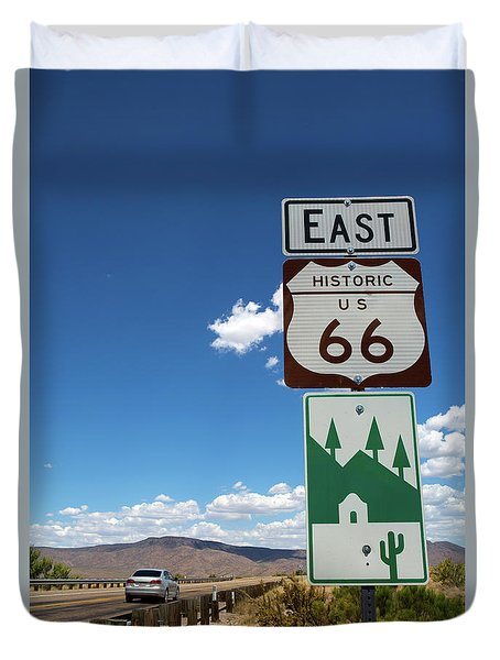 Duvet Cover featuring the photograph Us Route 66 Sign Arizona by Steven Frame