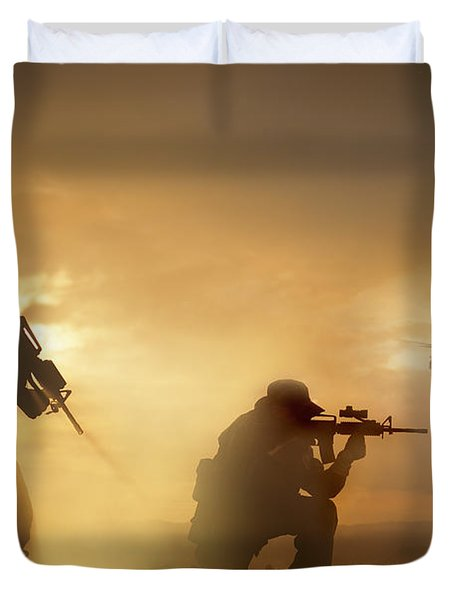Duvet Cover featuring the photograph U.s. Special Forces Provide Security by Tom Weber
