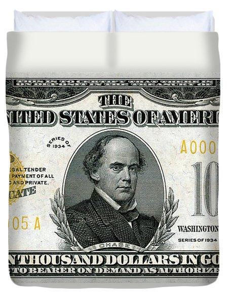 Duvet Cover featuring the digital art U.s. Ten Thousand Dollar Bill - 1934 $10000 Usd Treasury Note by Serge Averbukh