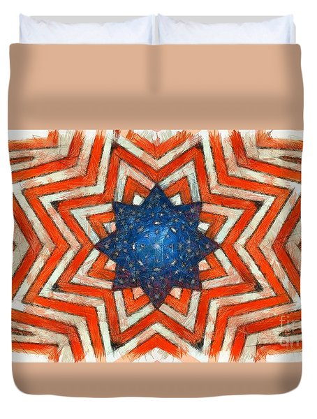 Duvet Cover featuring the digital art Usa Abstract by Edward Fielding