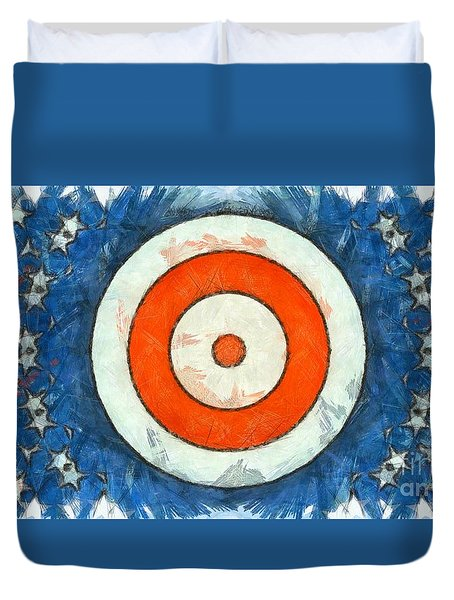 Duvet Cover featuring the digital art Usa Flag Abstract by Edward Fielding