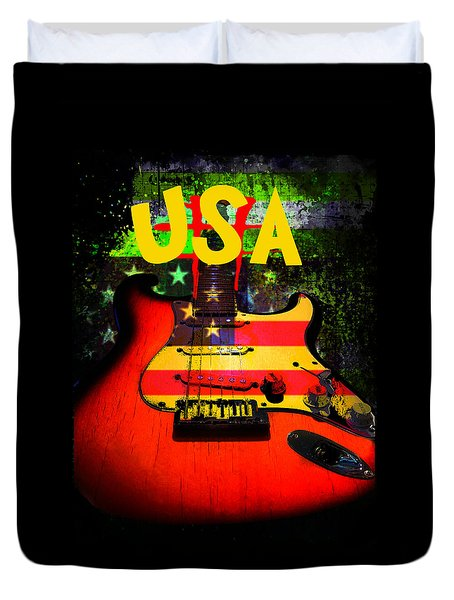 Duvet Cover featuring the photograph Usa Guitar Music by Guitar Wacky
