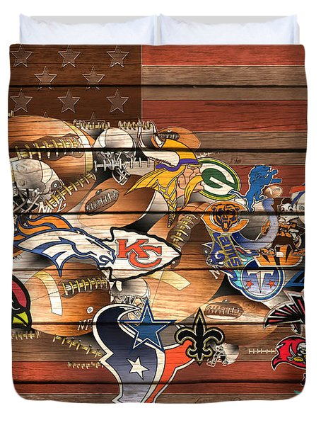Usa Nfl Map Collage 6 Duvet Cover