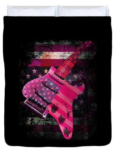 Duvet Cover featuring the photograph Usa Pink Strat Guitar Music by Guitar Wacky