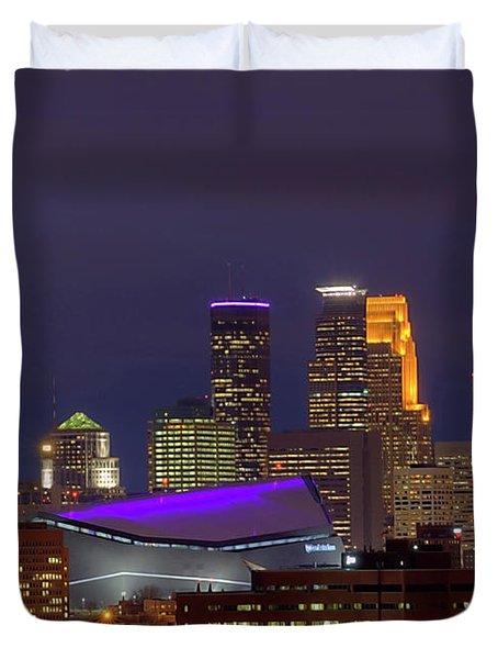 Usbank Stadium Dressed In Purple Duvet Cover