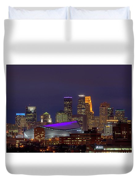 Usbank Stadium Dressed In Purple Duvet Cover
