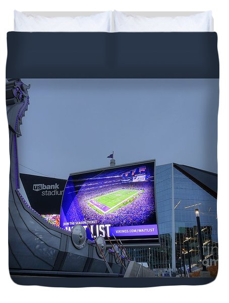 Usbank Stadium Viking Ship Duvet Cover