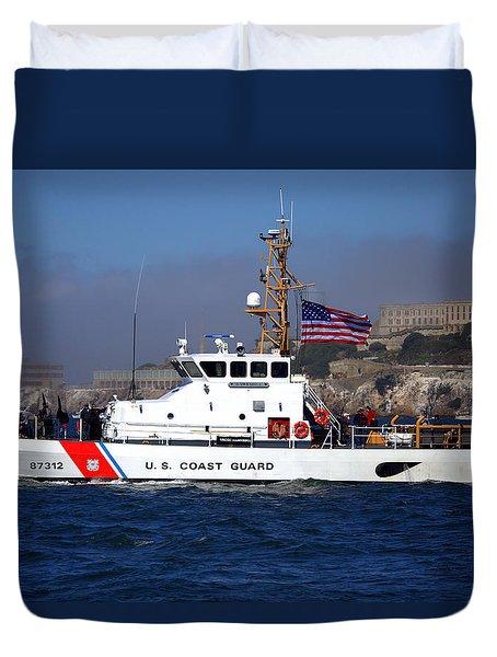 Duvet Cover featuring the photograph Uscg Hawksbill Patrols San Francisco Bay During Fleet Week by John King