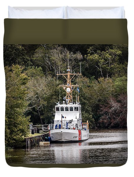 Duvet Cover featuring the photograph Uscgc Pelican Moored 1 by Gregory Daley  PPSA