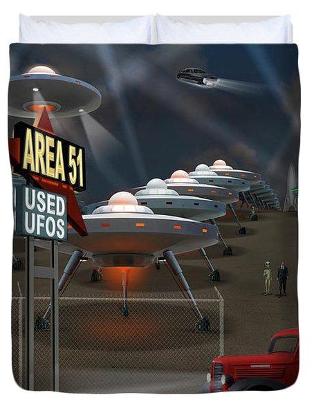 Area 51 Used U F O S Duvet Cover by Mike McGlothlen