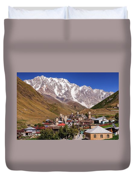 Ushguli And  Shkhara Mount Duvet Cover by Sergey Simanovsky