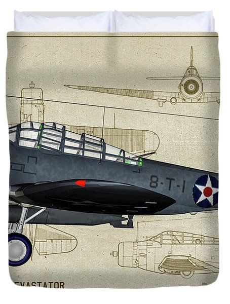 Usn Devastator - Profile Art Duvet Cover