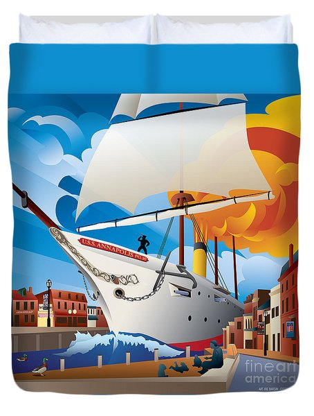 Uss Annapolis In Ego Alley Duvet Cover