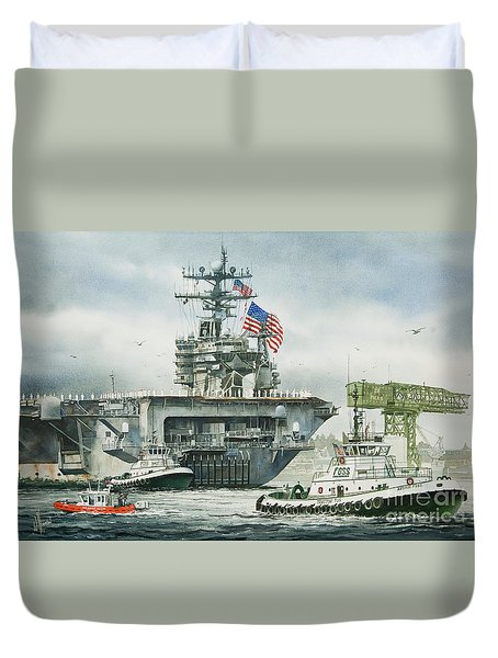 Uss Carl Vinson Duvet Cover by James Williamson